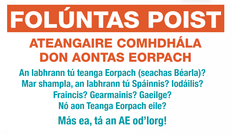 Folúntas Poist – Ateangaire Comhdhála don Aontas Eorpach