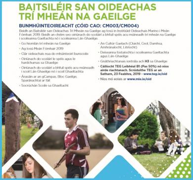 Baitsiléir san Oideachas Trí Mheán na Gaeilge (Bunmhúinteoireacht)